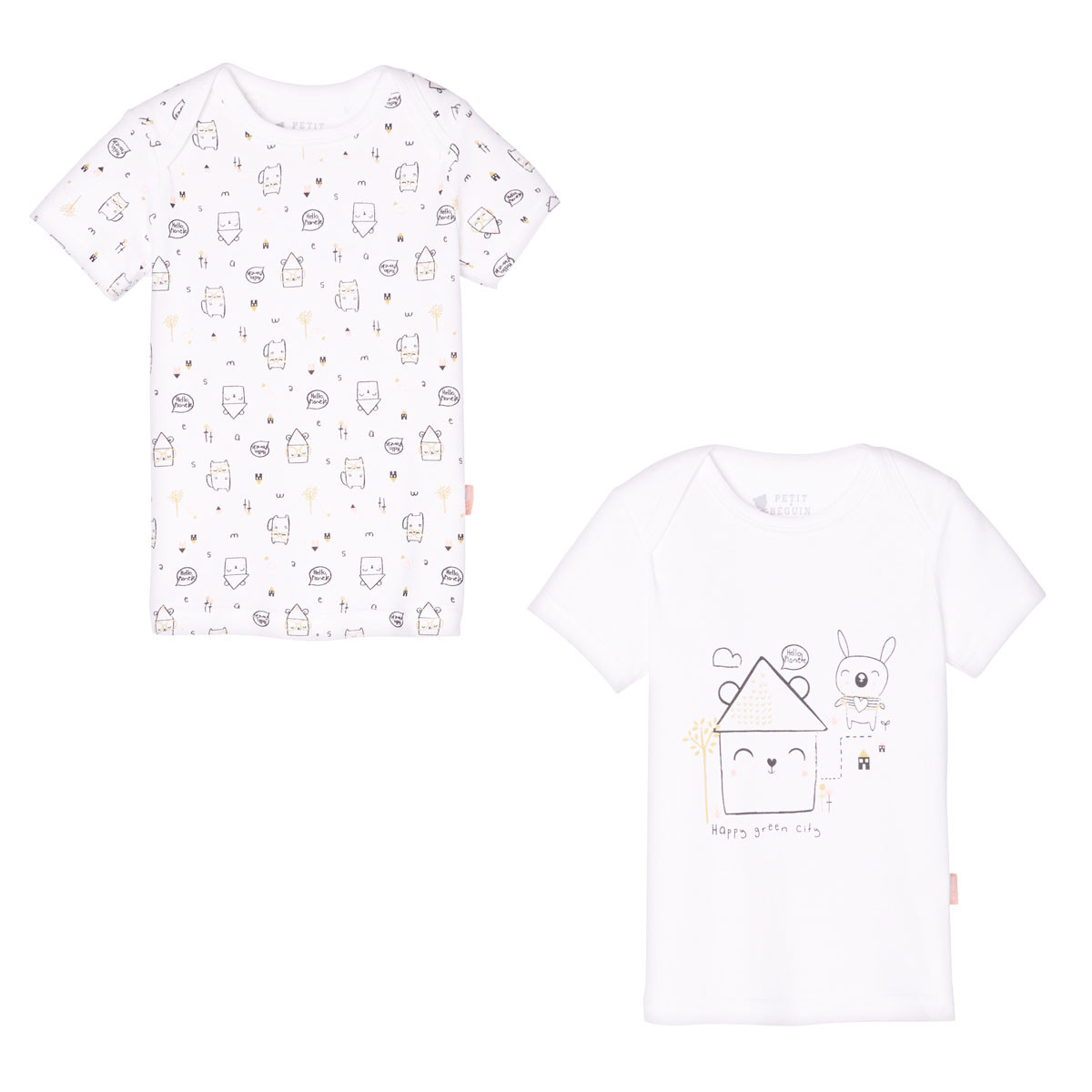 Lot de 2 t-shirts manches courtes bébé mixte Hello Planet
