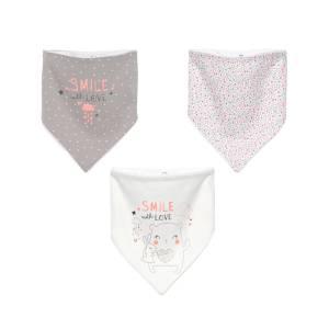 Lot de 3 bavoirs foulards bébé fille Macaron