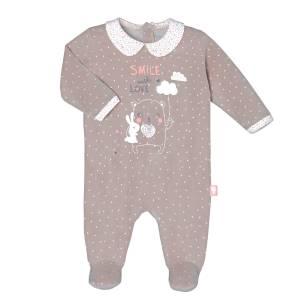 Pyjama velours bébé fille Macaron