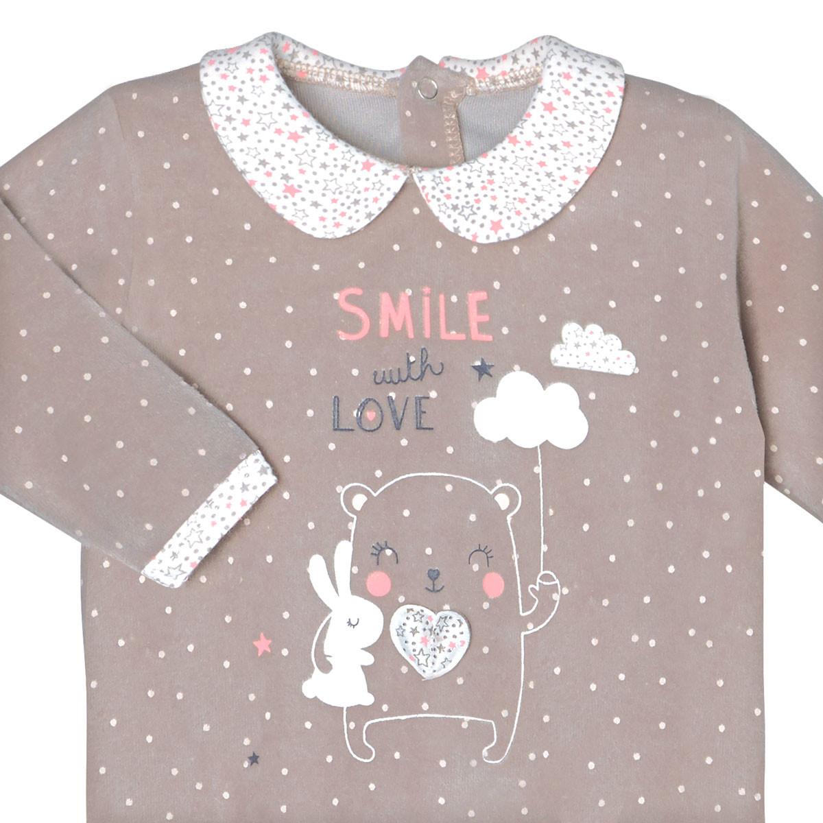 Pyjama velours bébé fille Macaron zoom col claudine & patch