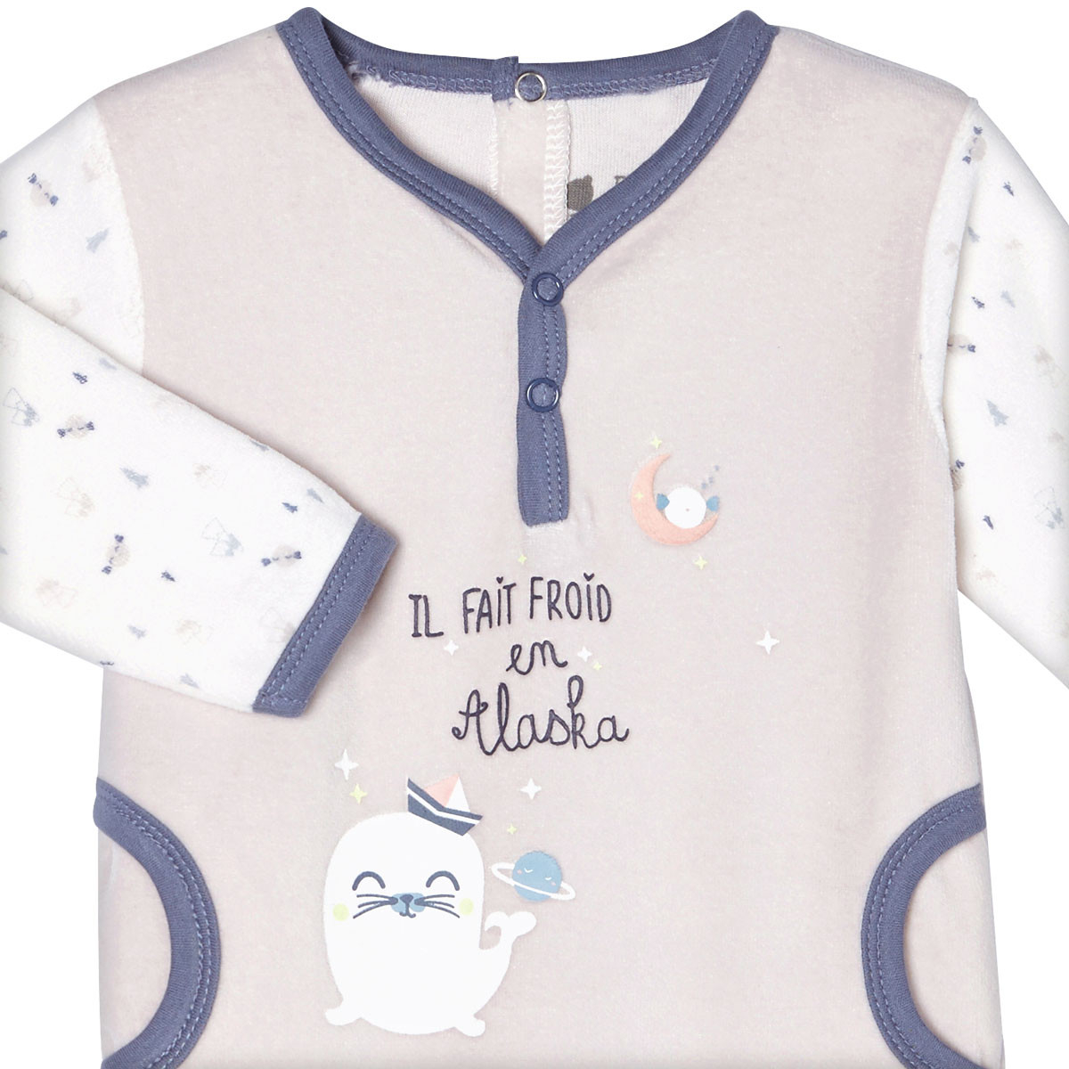 Pyjama velours bébé garçon Mr Freeze zoom col tunisien