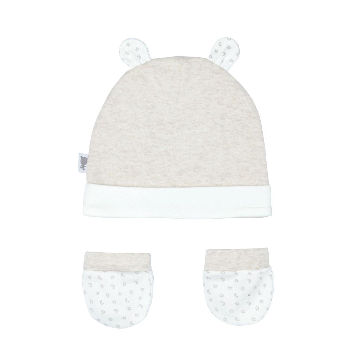 Bonnet + moufles anti-griffures bébé mixte Nuit Etoilée 0/3M dos