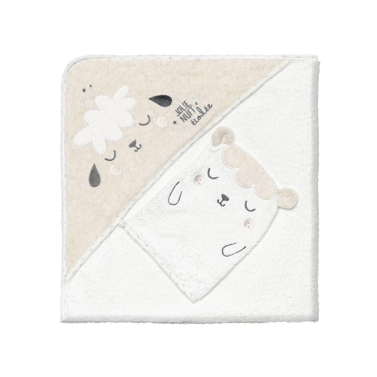 Cape et gant de bain bébé mixte Nuit Etoilée