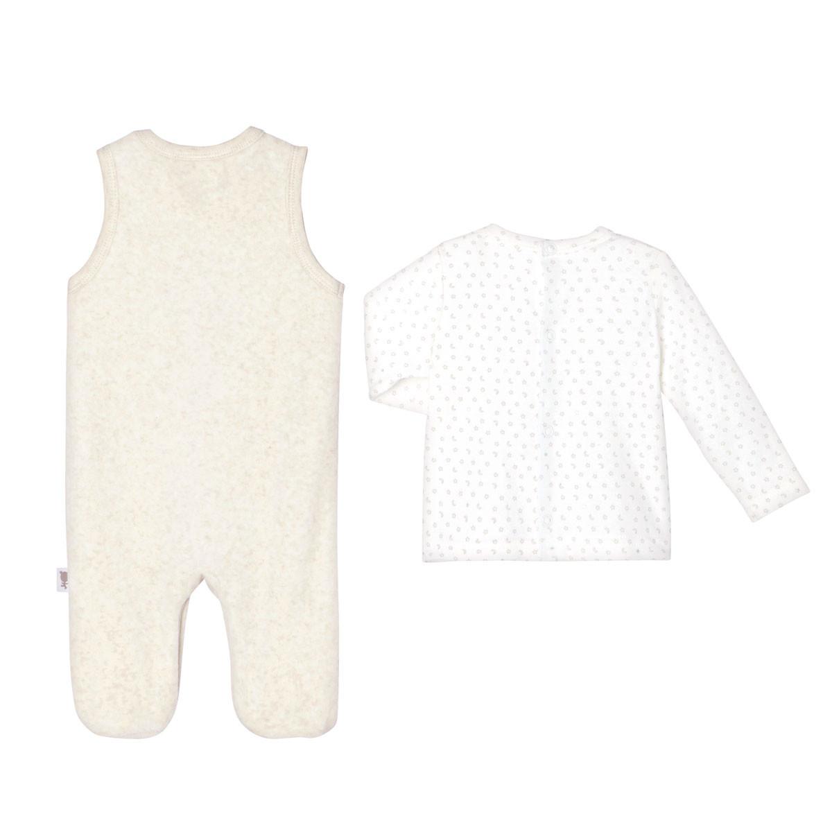 Salopette velours + T-shirt coton bébé mixte Nuit Etoilée dos