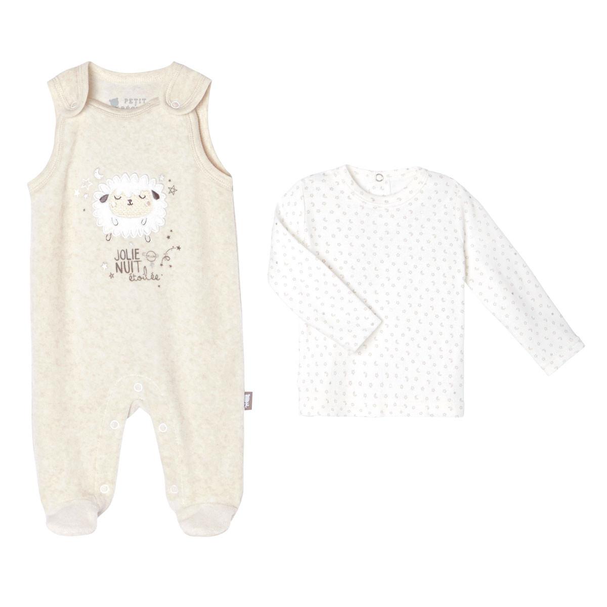 Salopette velours + T-shirt à manches longues coton bébé mixte Nuit Etoilée
