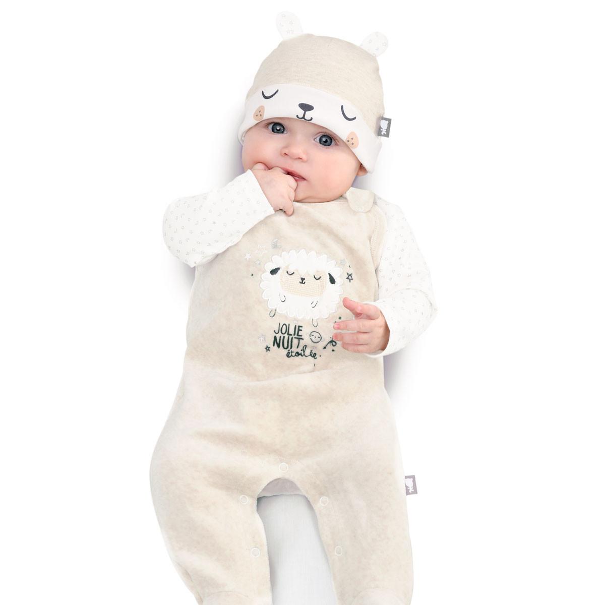 Salopette velours + T-shirt coton bébé mixte Nuit Etoilée