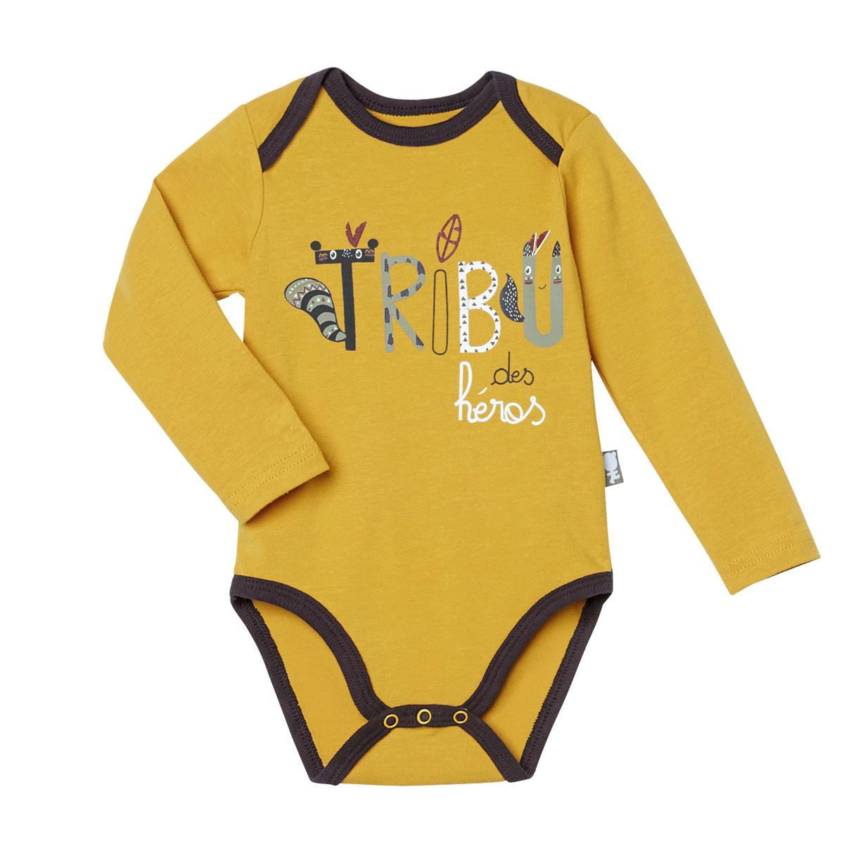 Lot de 2 bodies bébé garçon manches longues Foxy jaune ocre