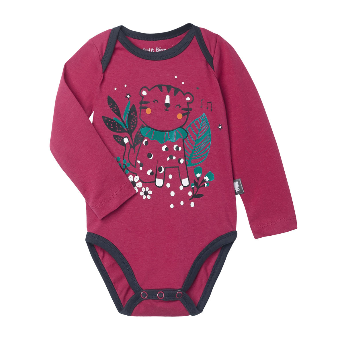 Lot de 2 bodies bébé fille manches longues Jungle Circus rose