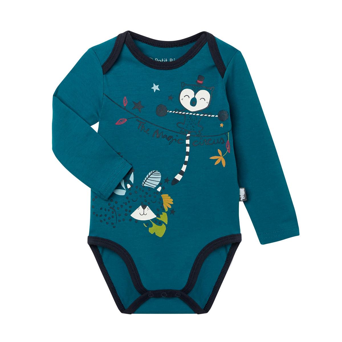 Lot de 2 bodies bébé garçon manches longues Jungle Jungle bleu canard