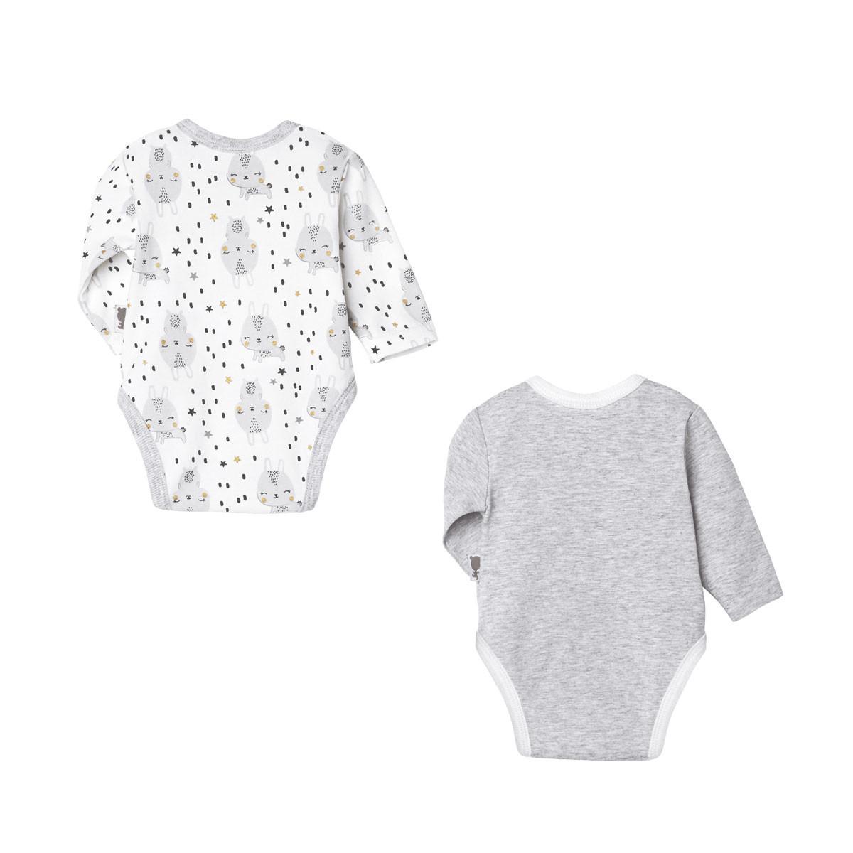 Lot de 2 bodies bébé mixte croisés manches longues Lapinou dos