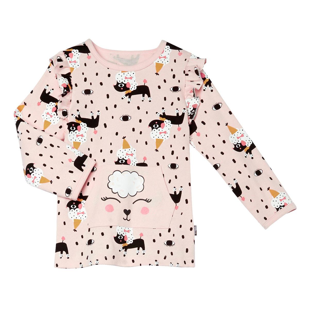Pyjama fille manches longues Circus Party rose pâle t-shirt à manches longues