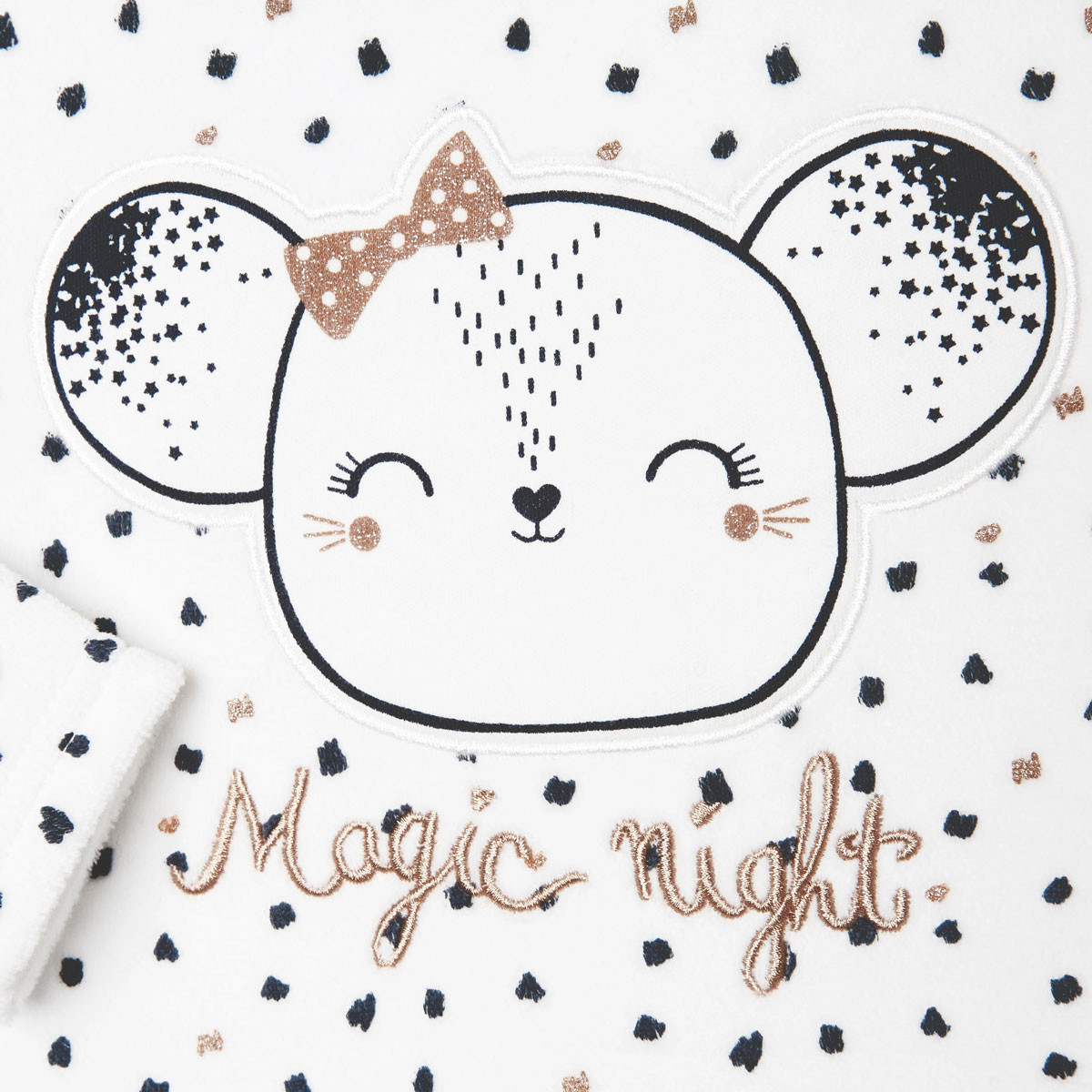 Pyjama bébé velours Magic Night zoom broderie et paillettes