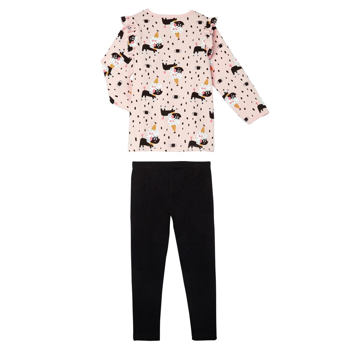 Lot de 2 pyjamas fille manches longues Circus Party rose pâle dos