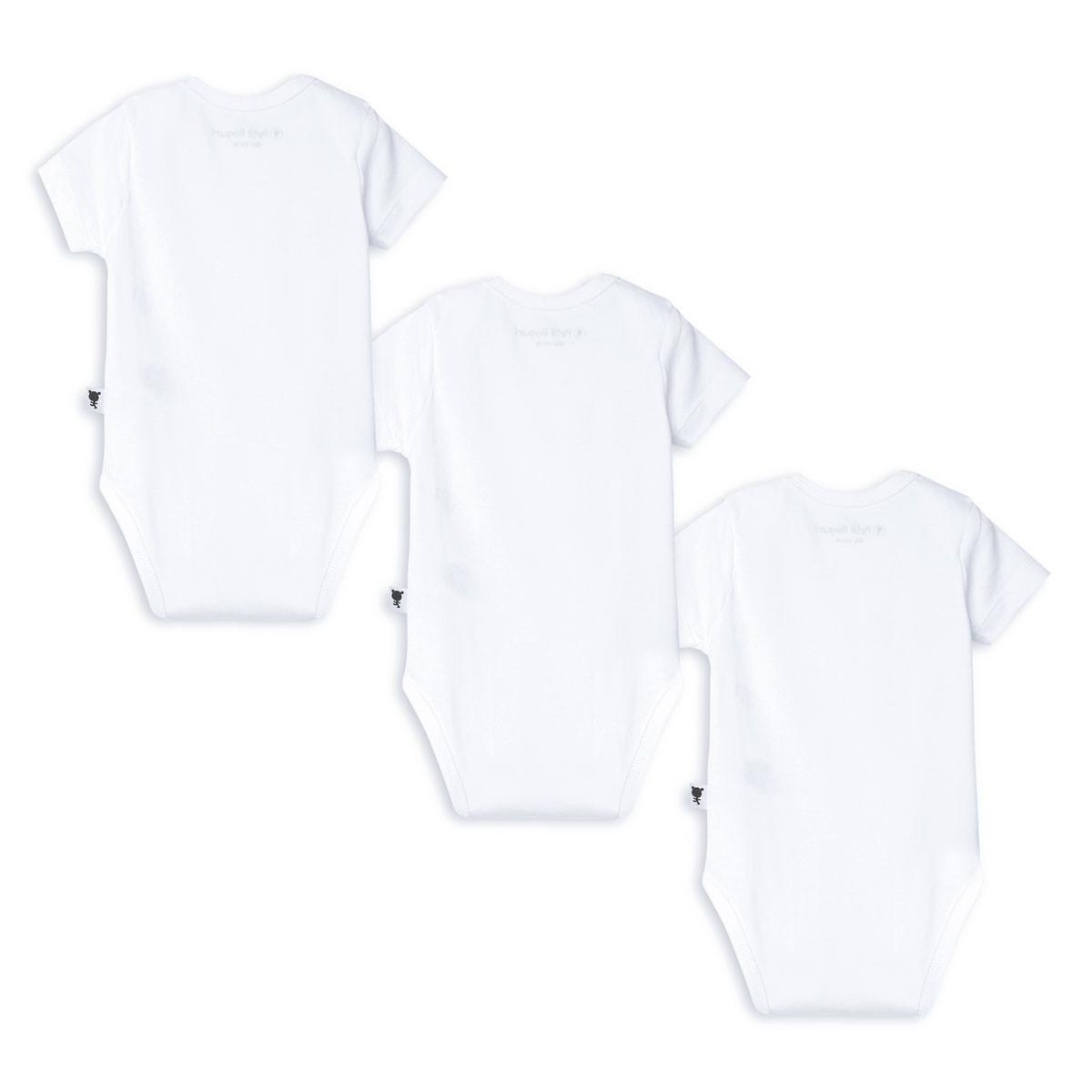 Lot de 3 bodies bébé mixte manches courtes Basique dos