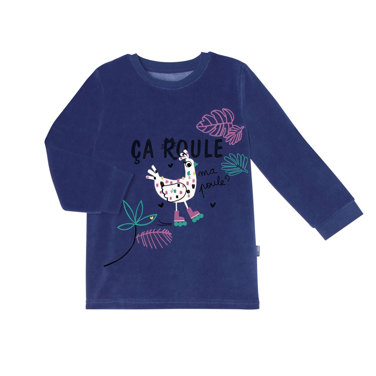 Pyjama fille manches longues Cool ma Poule t-shirt