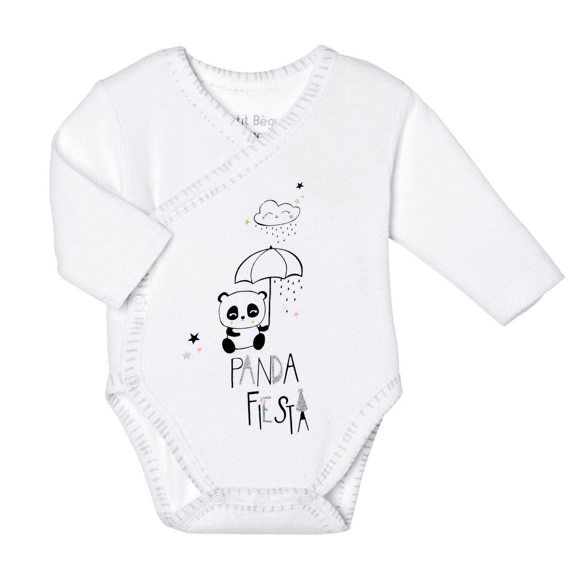 Lot de 2 bodies bébé mixte croisés manches longues Little Panda blanc
