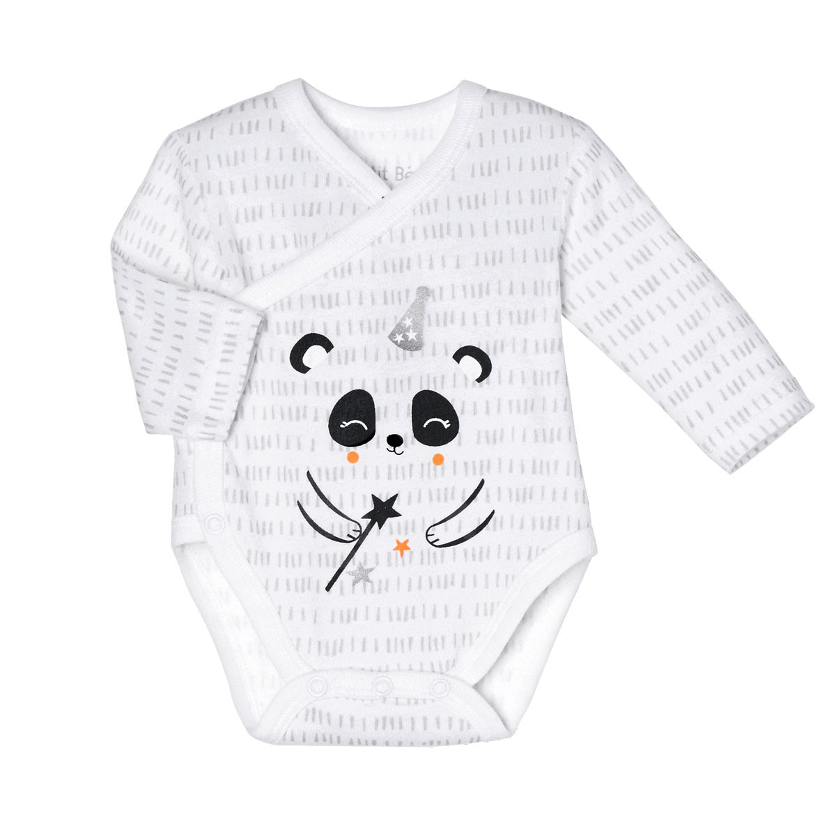 Lot de 2 bodies bébé mixte croisés manches longues Little Panda tachiste