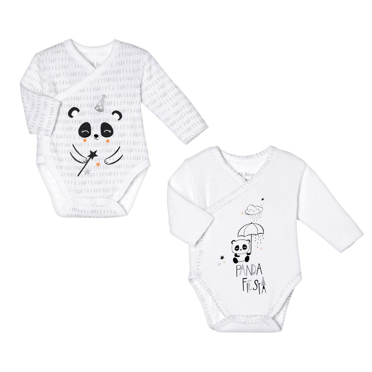 Lot de 2 bodies bébé mixte croisés manches longues Little Panda