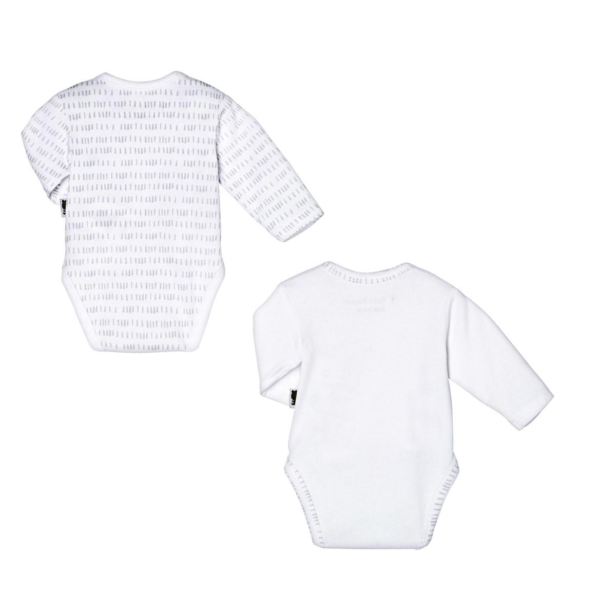 Lot de 2 bodies bébé mixte croisés manches longues Little Panda dos