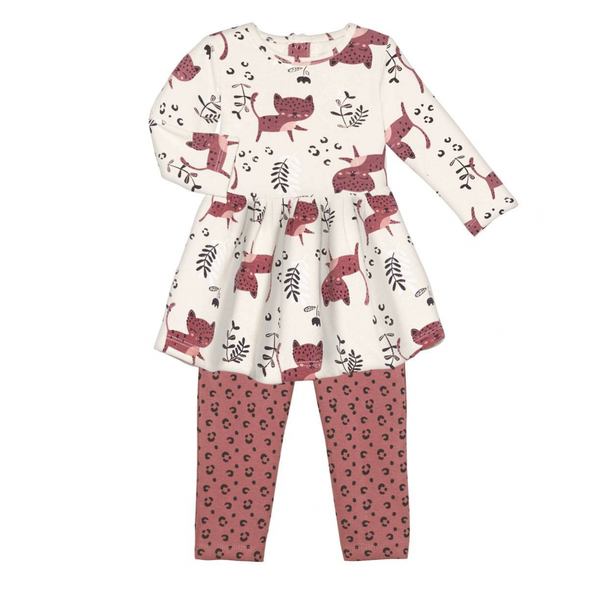 Robe en molleton + Legging bébé fille Léa Ensemble