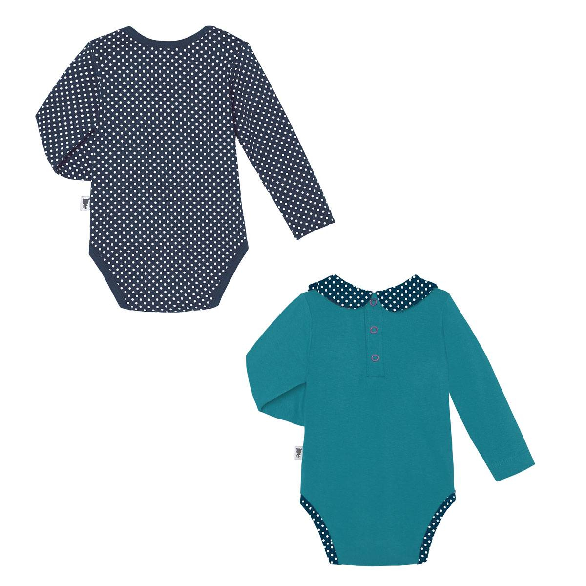 Lot de 2 bodies bébé fille manches longues Little Sweet dos