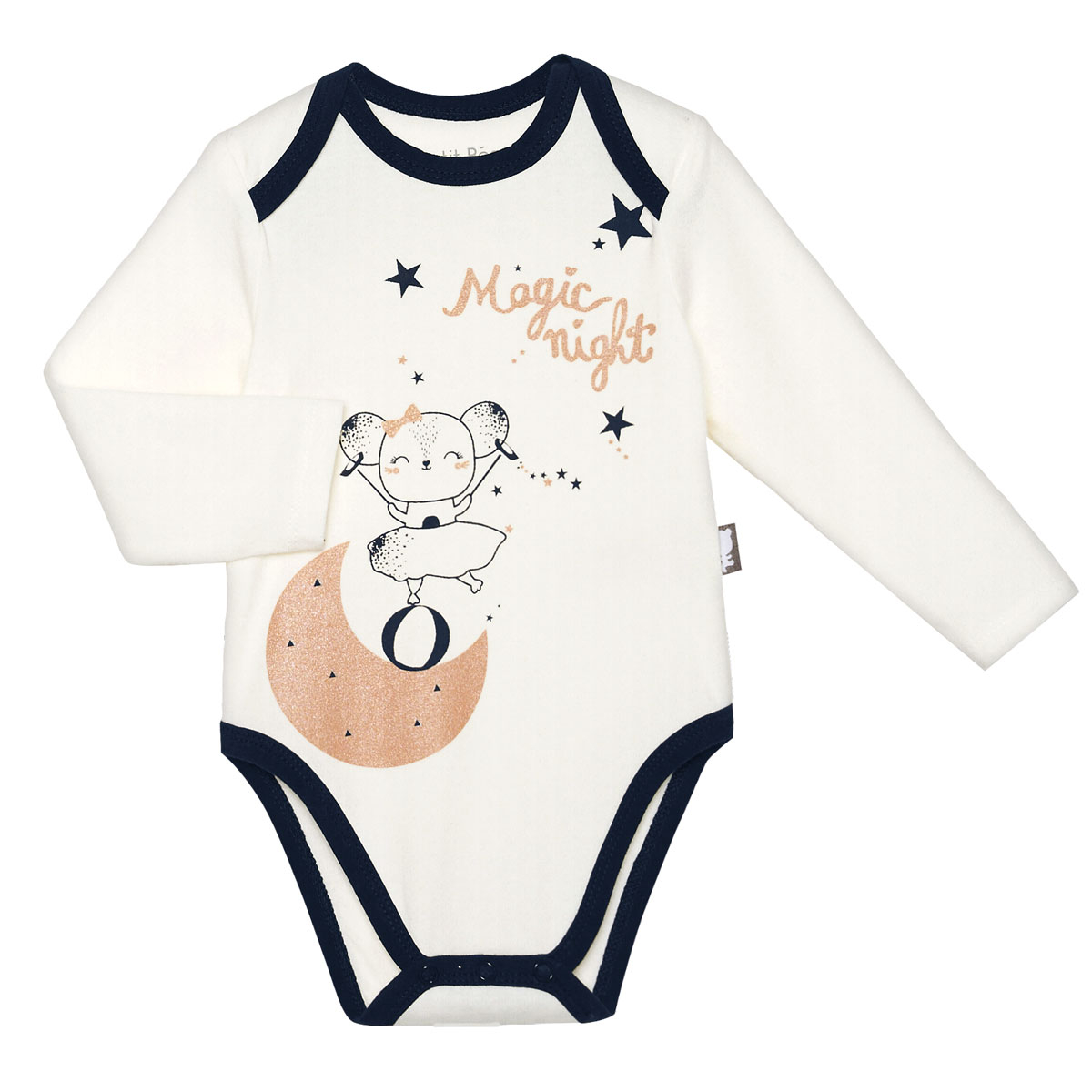 Lot de 2 bodies bébé fille manches longues Magic Night à paillettes