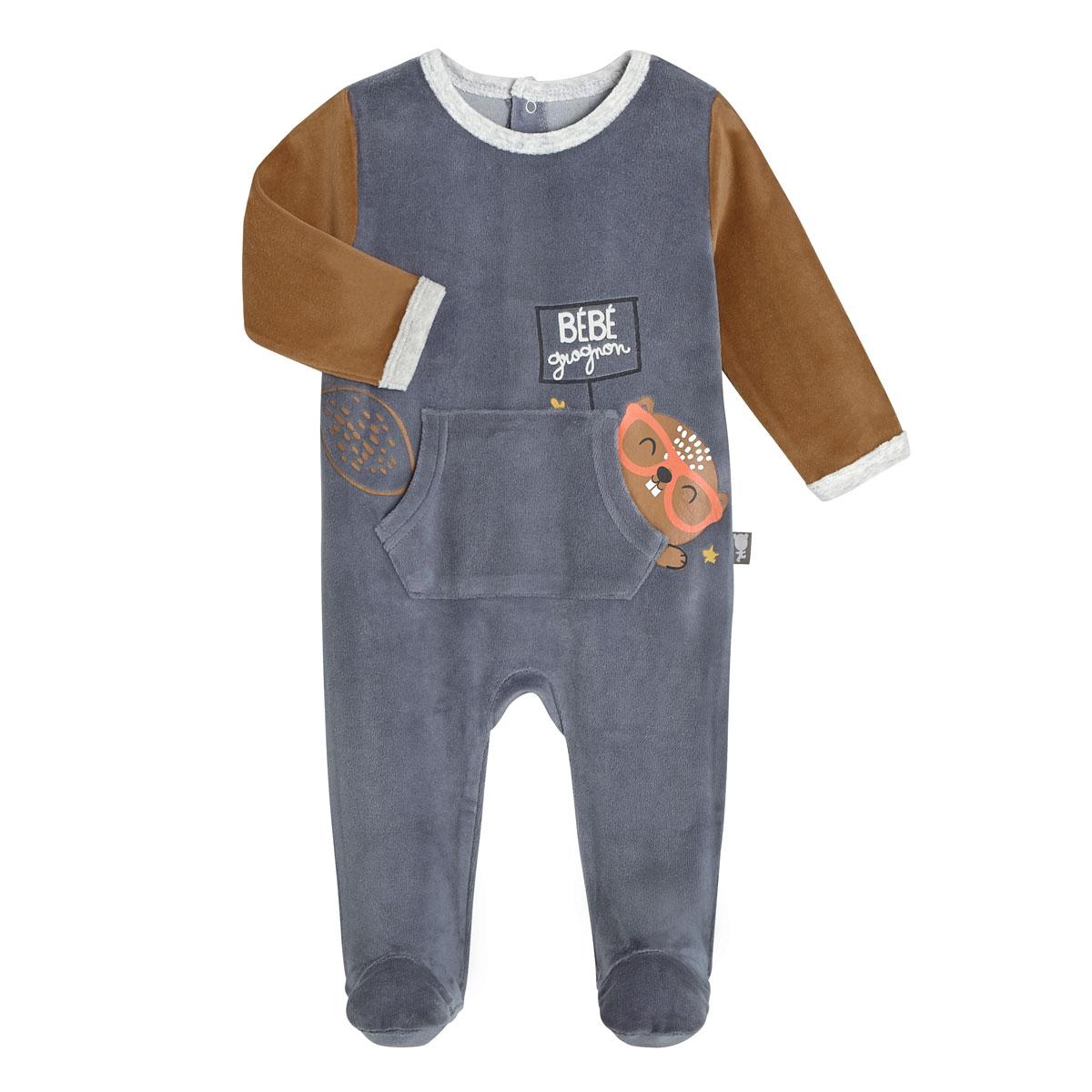 Pyjama bébé velours Bébé Grognon