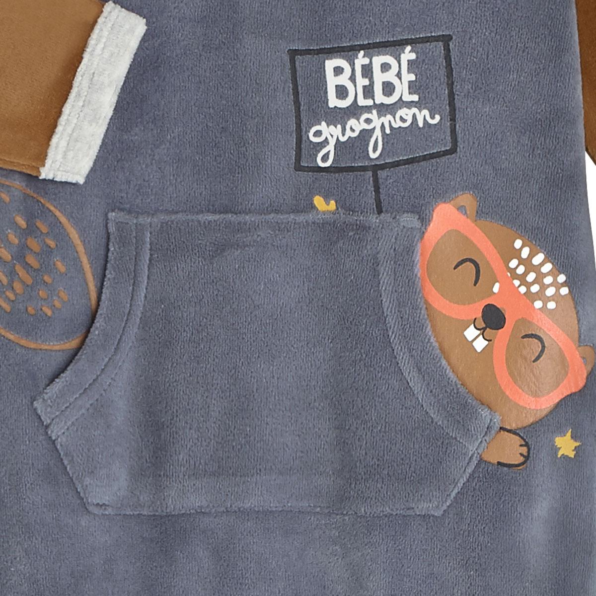 Pyjama bébé velours Bébé Grognon poche centrale