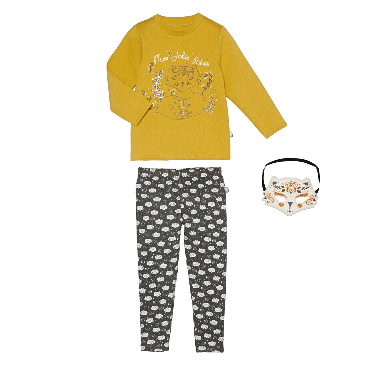 Pyjama fille manches longues + masque Little Foxy