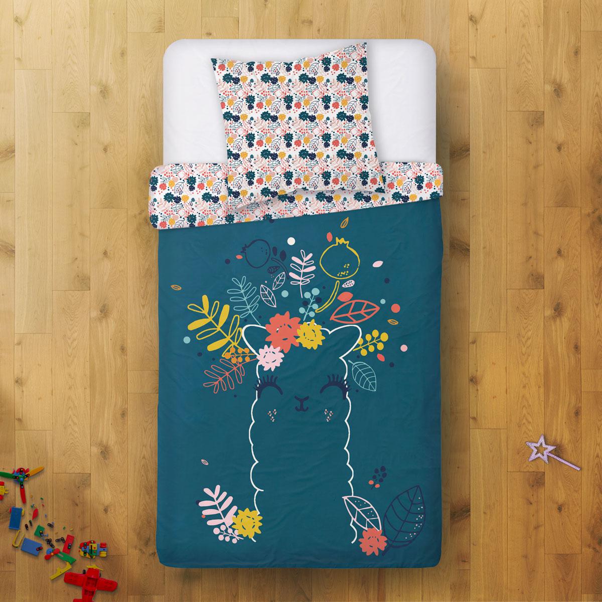 Housse de couette + taie d'oreiller fille Lamapampa (140 x 200 cm)