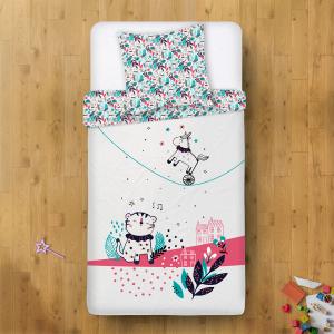 Housse de couette + taie d'oreiller fille Jungle Circus blanc (140 x 200 cm)