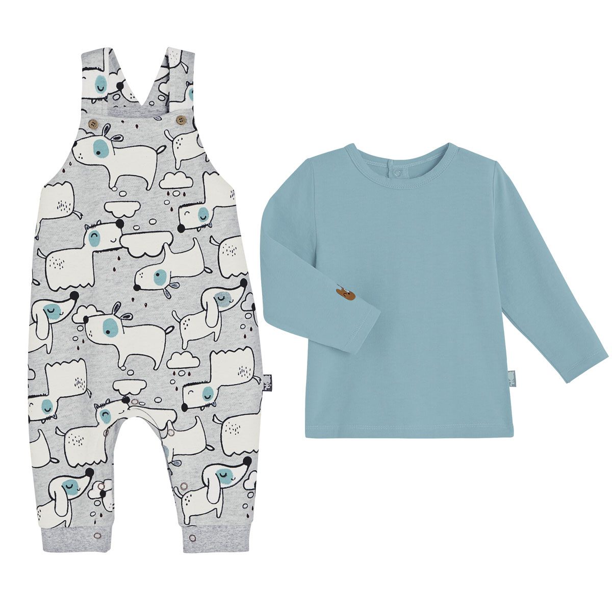 T-shirt + salopette bébé garçon en molleton Douglas
