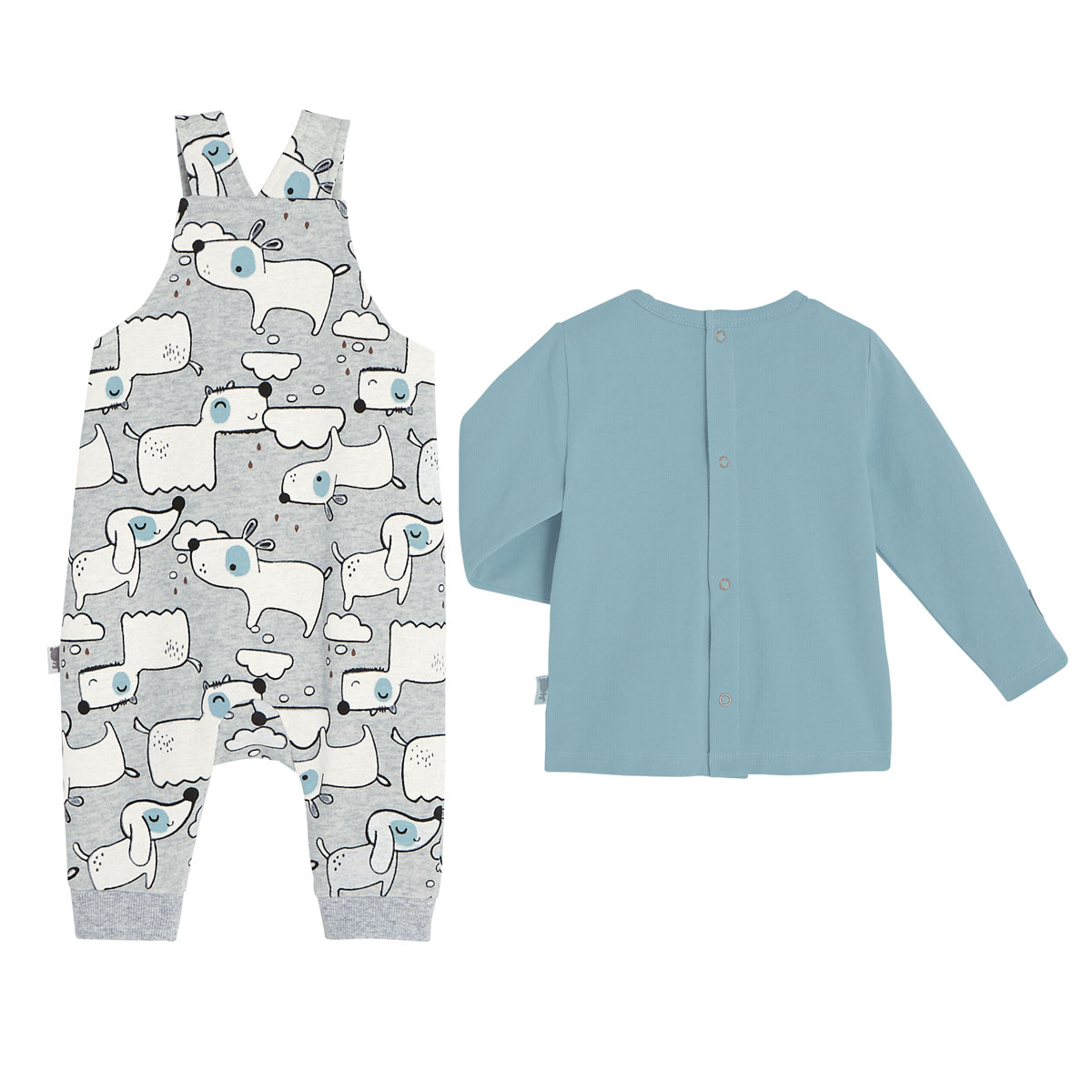 T-shirt + salopette bébé garçon en molleton Douglas dos