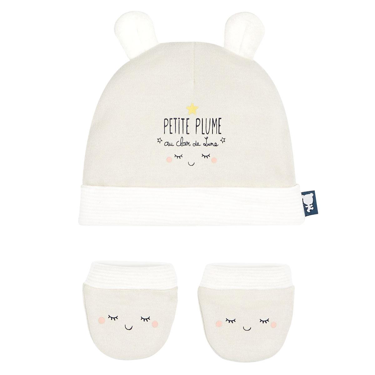 Bonnet + moufles anti-griffures bébé mixte Petite Plume 0/3M