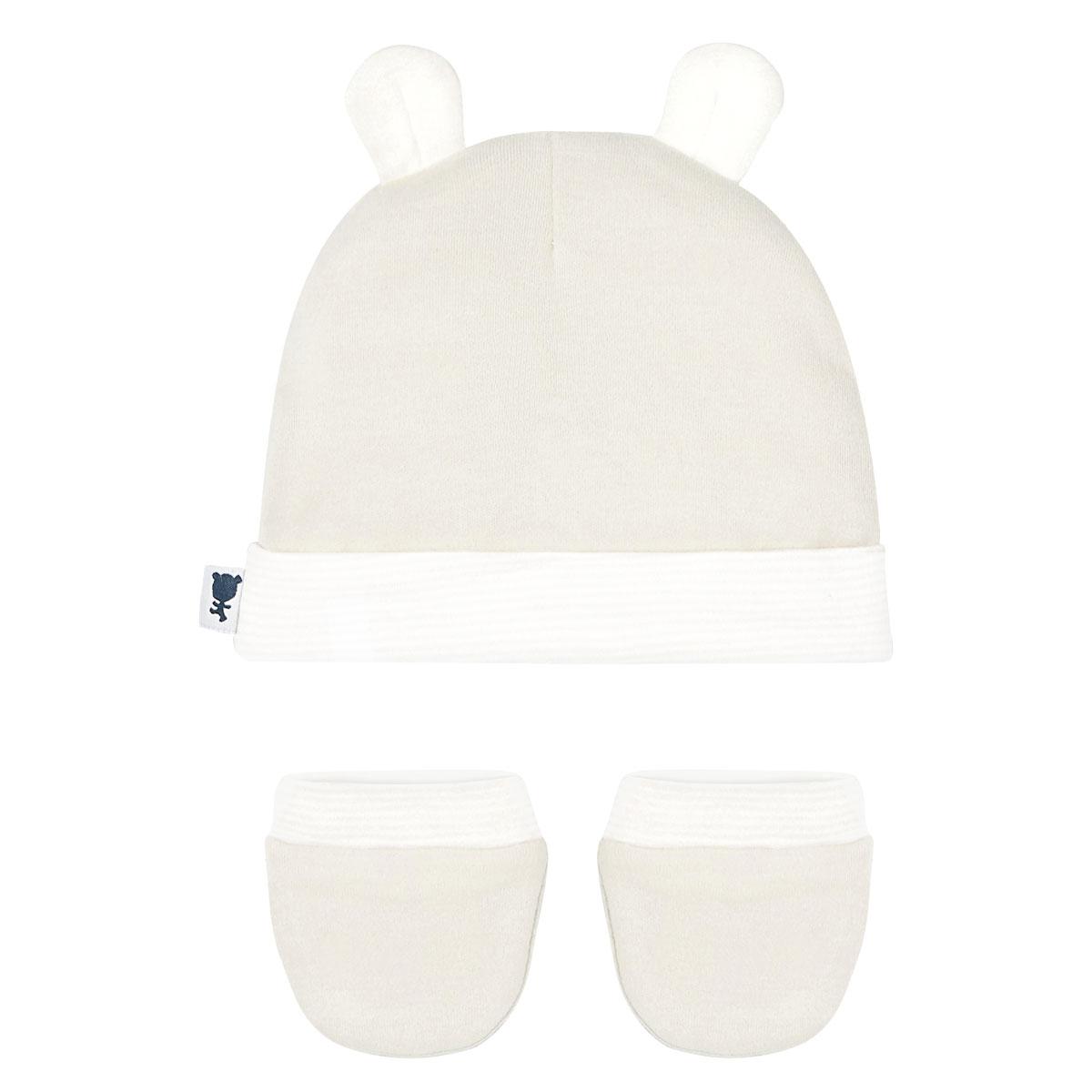 Bonnet + moufles anti-griffures bébé mixte Petite Plume 0/3M dos