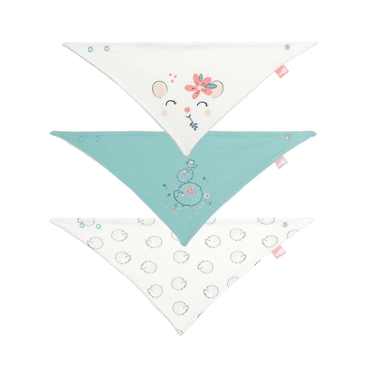 Lot de 3 bavoirs foulards bébé fille Frimousse