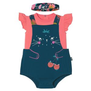 Barboteuse bébé fille à bretelles + T-shirt + Bandeau Tinyblooms