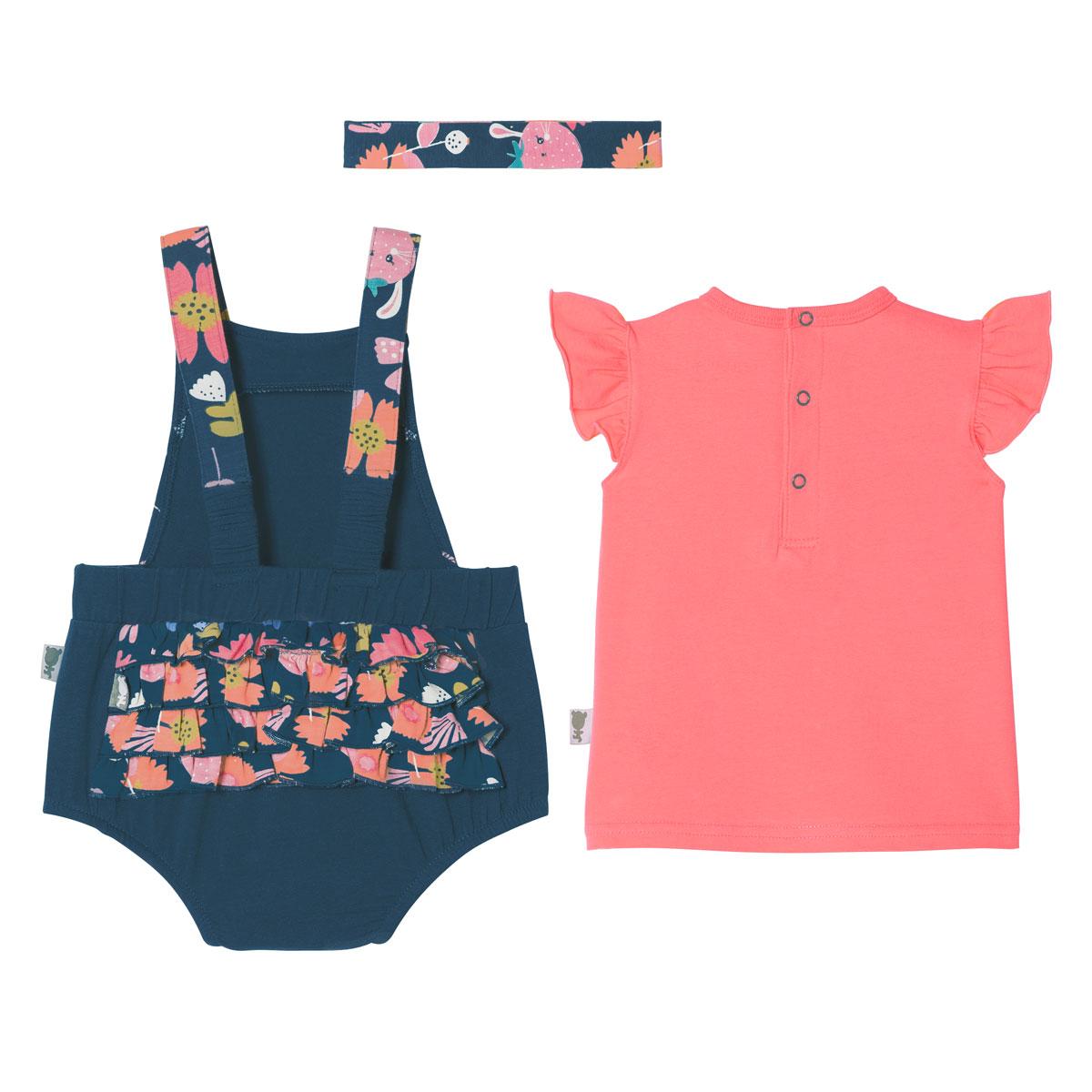 Barboteuse bébé fille à bretelles + T-shirt + Bandeau Tinyblooms dos