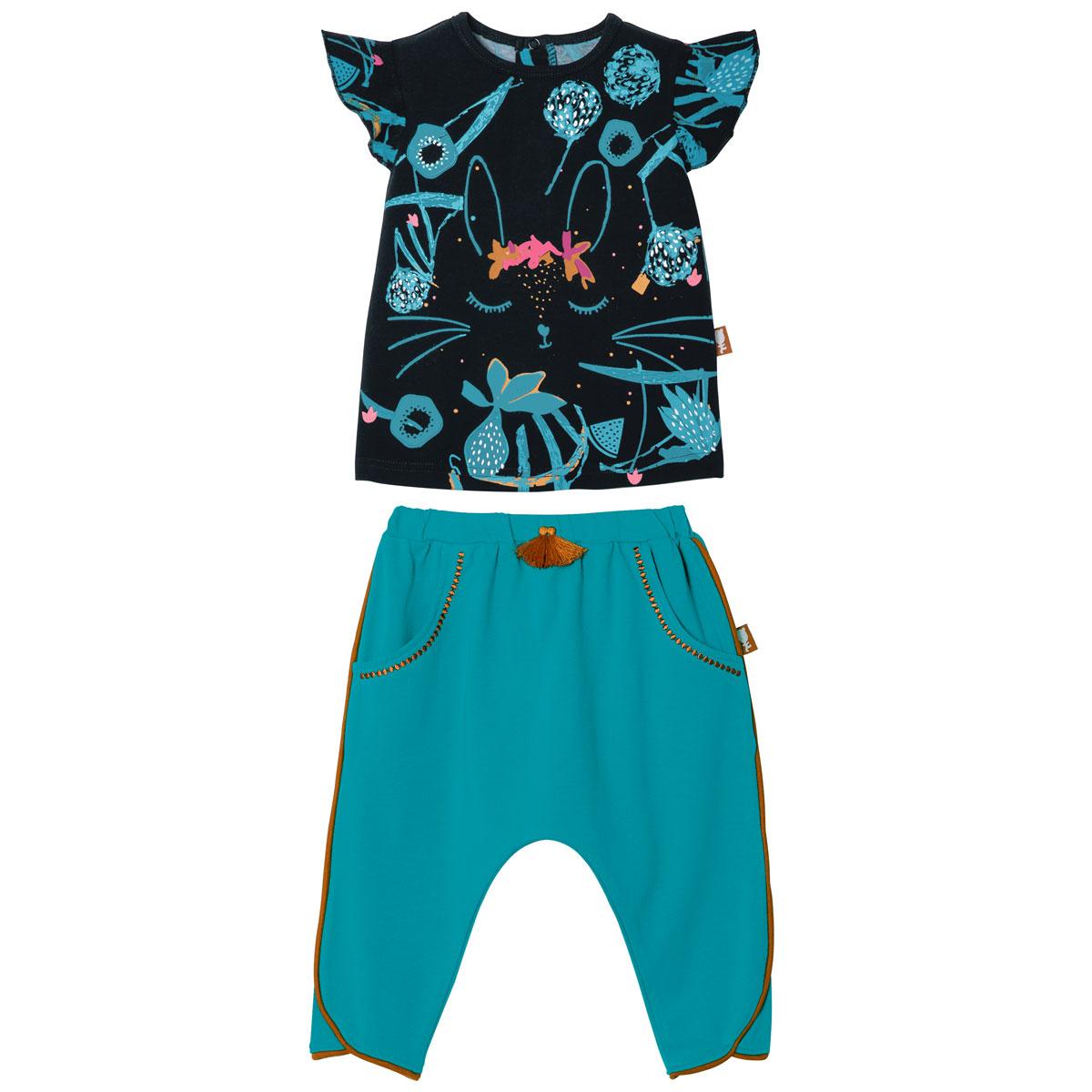 Ensemble bébé fille t-shirt manches courtes + pantalon Bombay