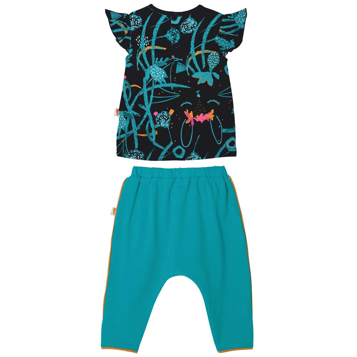 Ensemble bébé fille t-shirt manches courtes + pantalon Bombay dos