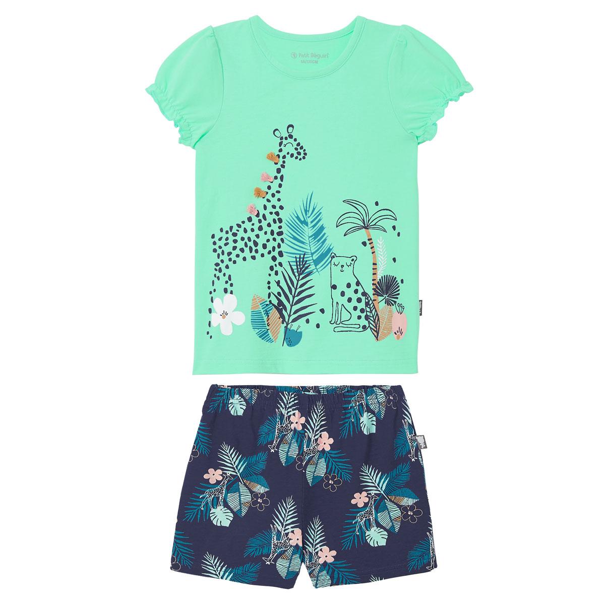 Pyjama fille manches courtes Bleu Nalani