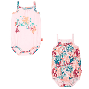 Lot de 2 bodies bébé fille à bretelles Brazilia Bird