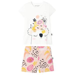 Pyjama fille manches courtes blanc Miss Koko