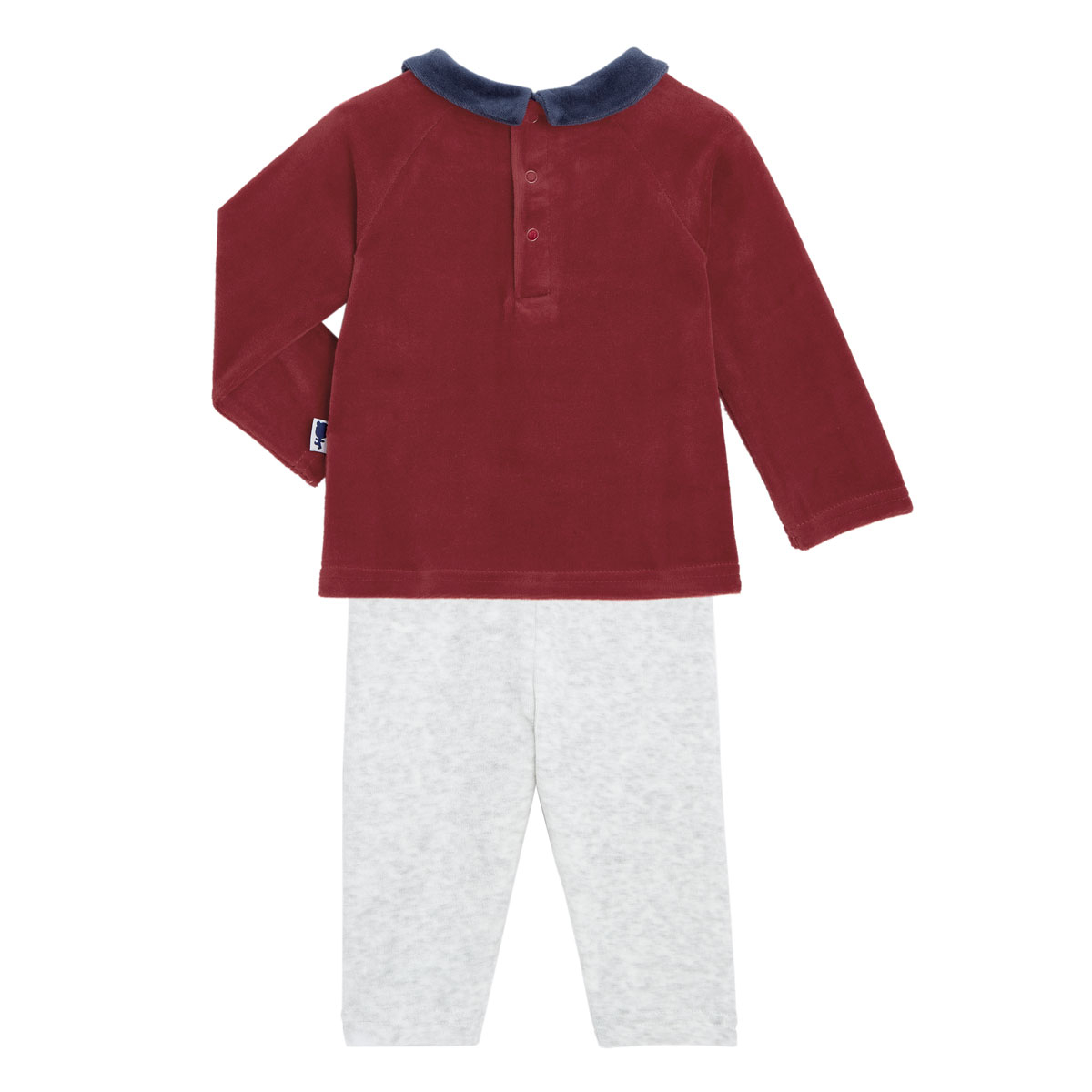 Pyjama bébé 2 pièces velours Mini Roi dos
