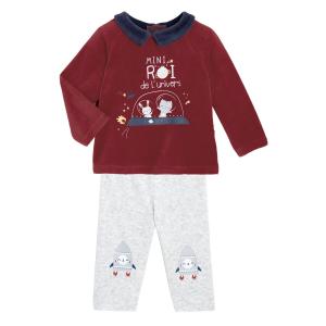 Pyjama bébé 2 pièces velours Mini Roi