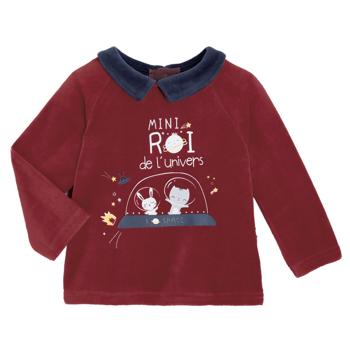 Pyjama bébé 2 pièces velours Mini Roi haut