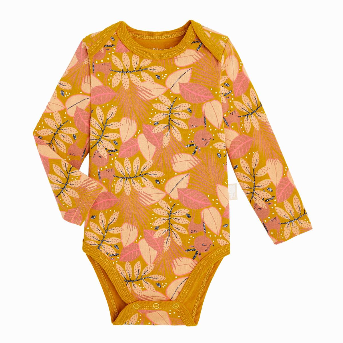 Lot de 2 bodies bébé fille manches longues contenant du coton bio Papaye 2