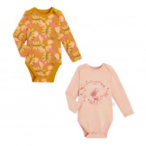 Lot de 2 bodies bébé fille manches longues contenant du coton bio Papaye