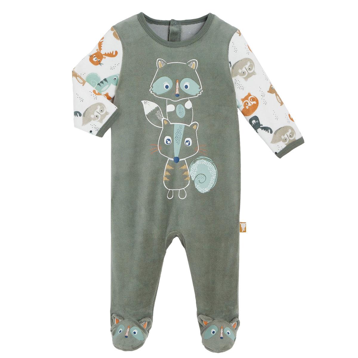 Pyjama bébé en velours contenant du coton bio Noisette