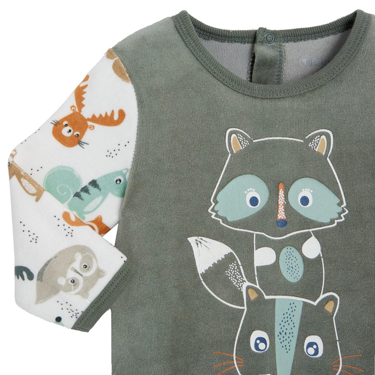 Pyjama bébé en velours contenant du coton bio Noisette zoom